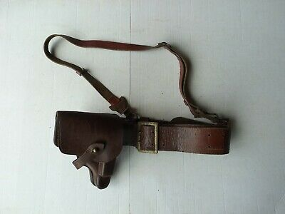 Vintage German Military WWII WW2 Leather Belt w/ Strap and Holster Walther PP