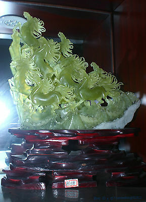 Chinese 100% Natura xiuyu Jade Hand engraving lucky succeed eight horse statue 4