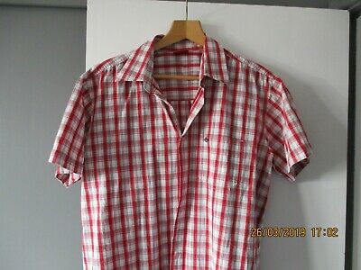 Levis Mens Shirt Large Casual Slim Fit Short Sleeve Shirt Red white L .