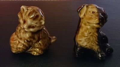 A pair of vintage Wade animal whimsies 1970's puppy mongrel and kitten