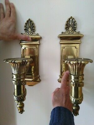 Pair Of Antique Art Deco Heavy Brass Gas Wall Lights For Refurb Conversion