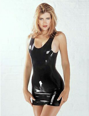 SHARON SLOANE Latex Mini Dress Sexy Rubber Black Shiny Wet Look Lingerie PVC UK