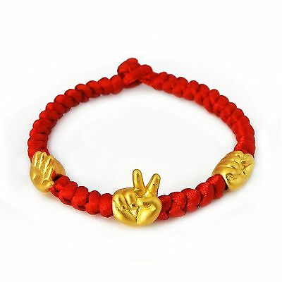 Pure 999 24k  Yellow Gold  Lucky Hand Bead Red Knitted Chain Bracelet / 2.6g