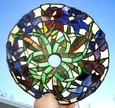 Antique Vintage Leaded Stained Slag Art Glass Lamp Shade Vines Foliage Pattern