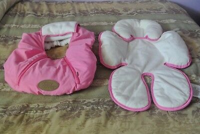 USED Cozy Cover Pink Infant Carrier Cover & Summer Baby Support Safety Cushion
