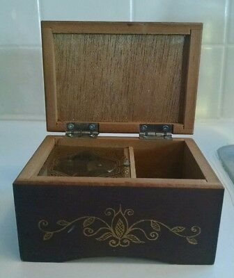 "Vintage Antique Wooden Music Jewelry Box 2-1/2"" Tall X 4-1/8"" Wide X 3"" Deep"