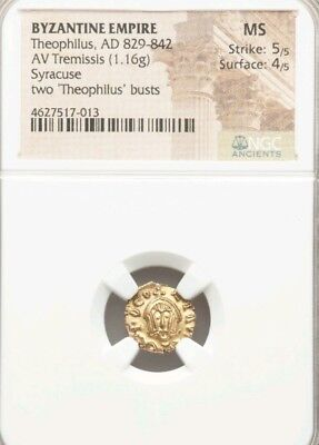 Byzantine Empire Theophilus Tremissis NGC MS 5/4 Ancient Gold Coin