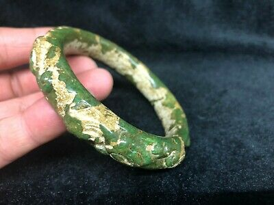 Ancient Chinese old Green Jade Bracelet Carving China dragon Bangle - 86MM