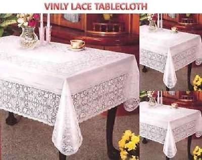 4-6 seater Tablecloth Table Cover Vinyl White  Rectangle Embossed easy wipeable