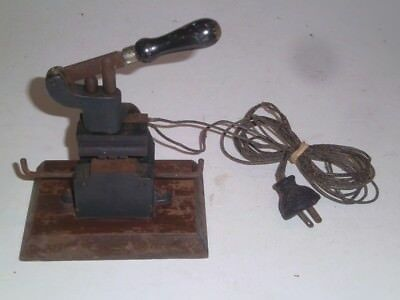 Antique Cast Iron Hot Foil Stamping Machine small size w/wooden plug Early 1900s