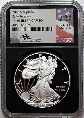 2018 S $1 Proof Silver Eagle NGC PF70 Early Releases Mercanti Signature Black