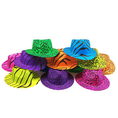 12 Pack Neon Gangster Hats Animal Print Hats Party Fancy Dress Bright Hats
