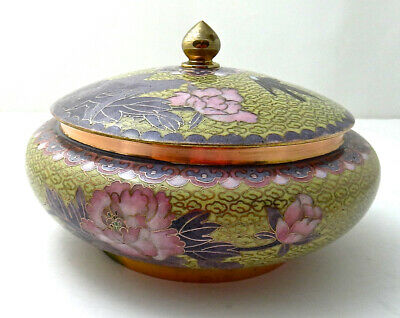 """Vintage Chinese Cloisonne Box 6"""" Round w/Lid, Yellow Pink Lavender Flowers Birds"""