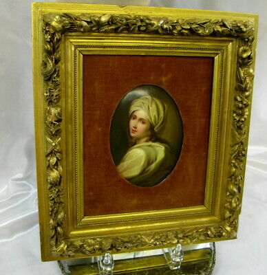 Antique French Miniature Ptg Porcelain Beatrice Cenci After Guido Reni