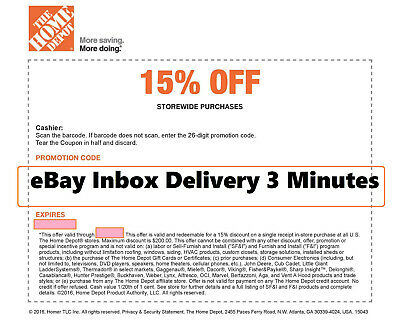 ONE 1x Home Depot 15% OFF Coupon -Instore ONLY Save up to $200 -Very-Fast_3min__