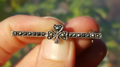1940's-1950's Vintage German Silver and Marcasite Clover Bar Pin / Brooch