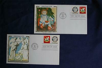 1978 Christmas 15c Stamps FDCs Colorano Cachets Sc#1768-69 Hobby Horse Rocking