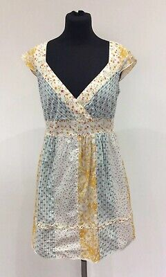 Redherring Pretty Cotton Yellow & Green Floral Print Summer Dress Size 10