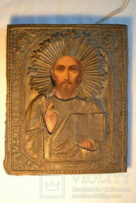 Old Orthodox Wooden  Icon  Lord Almighty ,the Bronze salary, am