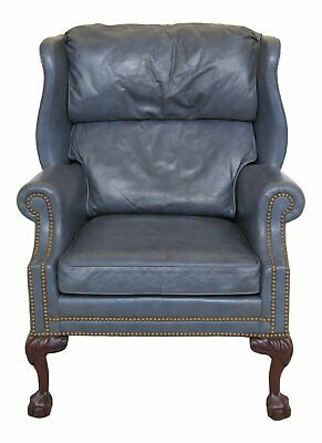 47242EC: HANCOCK & MOORE Blue Leather Ball & Claw Wing Chair
