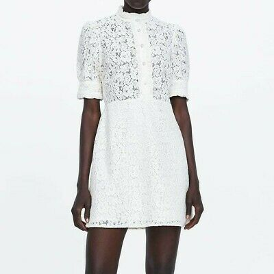 ee82083c Zara Woman New 2019 Off-White Lace Dress With Rhinestone Buttons Ref: 4786/