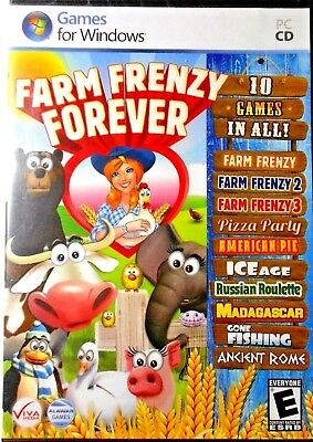 FARM FRENZY FOREVER 10 Games In All! (PC, 2011) CD-ROM WIN 7/Vista/XP NO  MANUAL