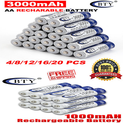 BTY AA / AAA 4-20pcs Rechargeable Battery Recharge Batteries 1.2V 3000mAh Ni-MH