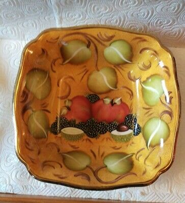Beautiful Vintage 1992 Hand Painted Fruit Bowl, Signed.