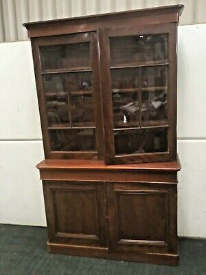 Victorian Mahogany Bookcase. With Drawer & Cupboards Underneath.