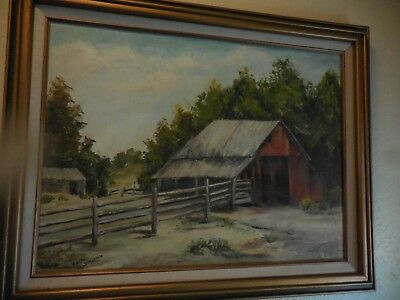 Vintage Oil on Board Painting of Country Barn and Fence Scene by Edith Swisher