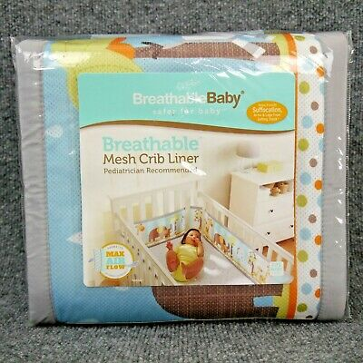 BreathableBaby 'Best Friends' Breathable Mesh Crib Liner No-Gap-Wrap Animals NEW
