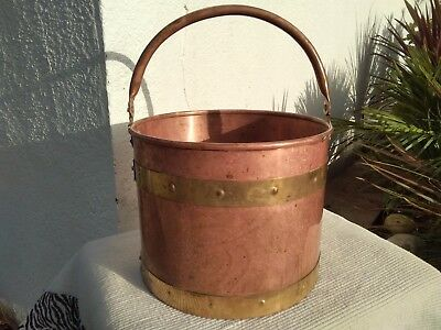 Large Vintage Copper &  Brass Jardiniere Planter  Bucket With Handle