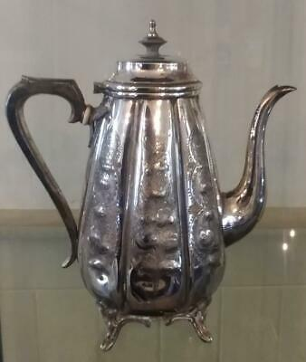 Beautiful Antique Silver Plated Tapered Melon Shaped Repousse Coffee Pot C 1860+