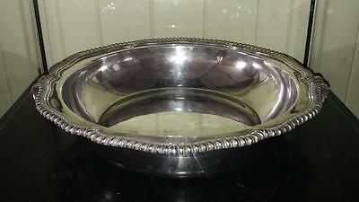 Fine Antique Ornate Silver Plated Two Handled Circular Chaffing/Warming Bowl