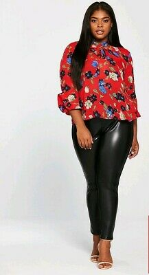 Bnwt Girls On Film Women's  Red Top Printed Fluted Sleeve Blouse Floral UK 20