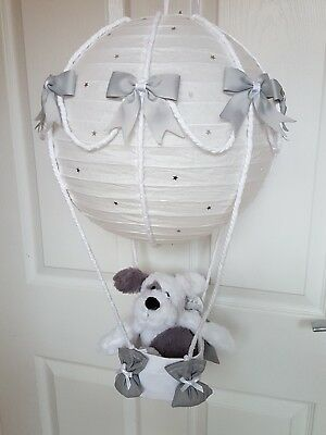 Hot air balloon light shade silver with a cute dog looks stunning