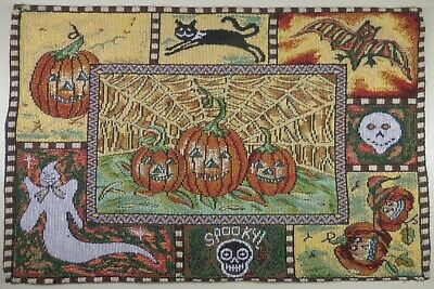 Halloween/Holiday Placemat Tapestry Cloth Style A 1 pc Web Bat Ghost Cat Skull
