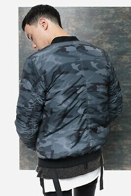352550b6a KUWALLA TEE MEN'S Strapped Bomber Jacket In Blue Camo Nwt Size S, M, L