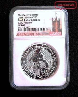 2018 Britains Queen Beast  2 Oz. Silver  Black Bull - Ms69 Ngc Castle Label Coin