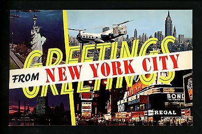 Postcard Vintage Greetings From New York City New York NY Chrome Times Square