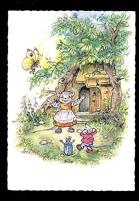 Fantasy postcard Artist Signed Lore Elf Gnome Bugs, Modern Mouse House