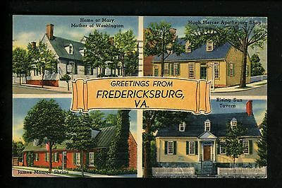 Postcard Vintage Greetings From Fredericksburg Virginia VA Linen