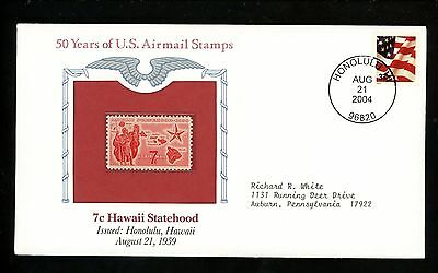 Commemorative Cover Fifty Years US Airmail Mint #C55 1959 7c Hawaii Statehood
