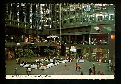 Minnesota MN postcard Minneapolis , IDS Mall interior chrome