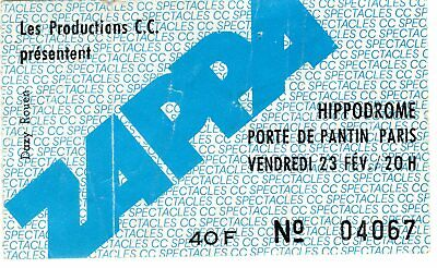 Used Tickets Frank Zappa Blue N°467 Concert 197? Pantin Paris France