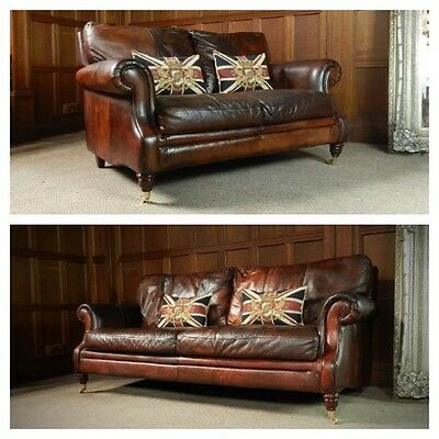 Victorian Style Cigar Brown Leather Suite 3 & 2 Seater Chesterfield Club Sofas