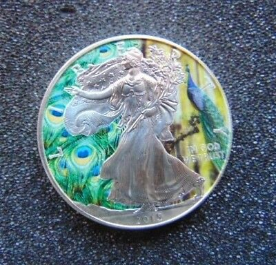 2015 American Eagle 1oz .999 Color Indian Peafowl Silver Coin