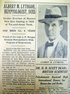 1935 NY Times newspaper ALBERT LITHGOE DEAD Egypt Archeologist CURSE of KING TUT