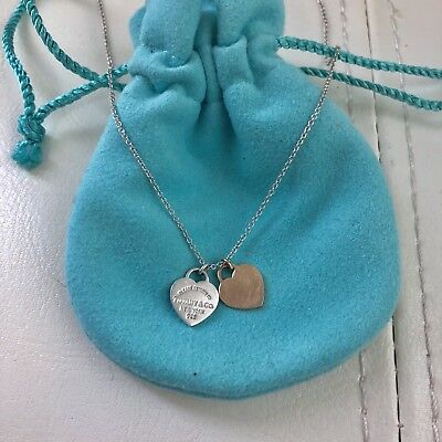 9d44a66af RETURN TO TIFFANY 18k Yellow Gold MINI DOUBLE HEART TAG Silver NECKLACE  Pouch