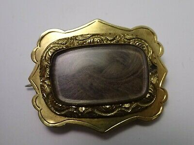 Antique Victorian 9ct Gold Plated Mourning Brooch With Hair.